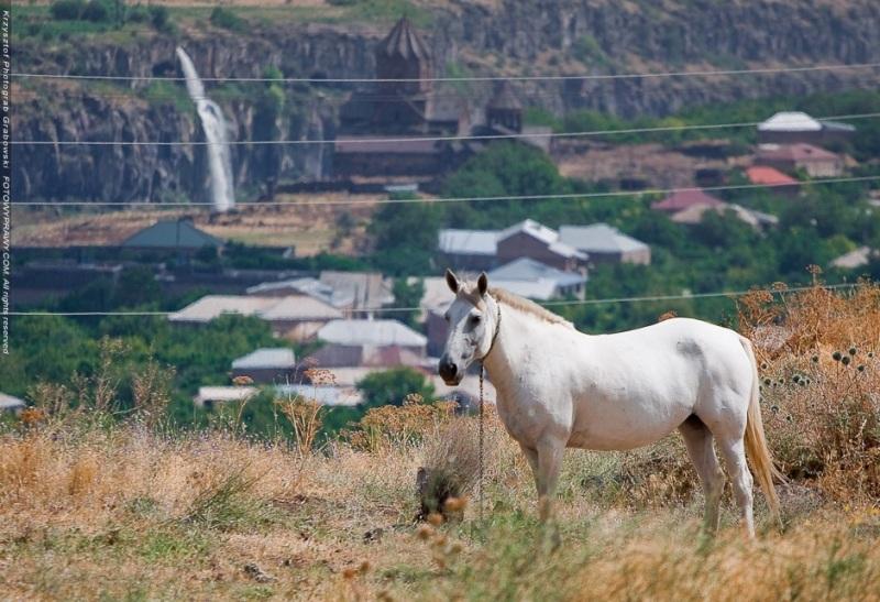 Piękno armeńskiego krajobrazu - w tle średniowieczna świątynia, kanion i wodospad. (Fot. Krzysztof Grabowski)