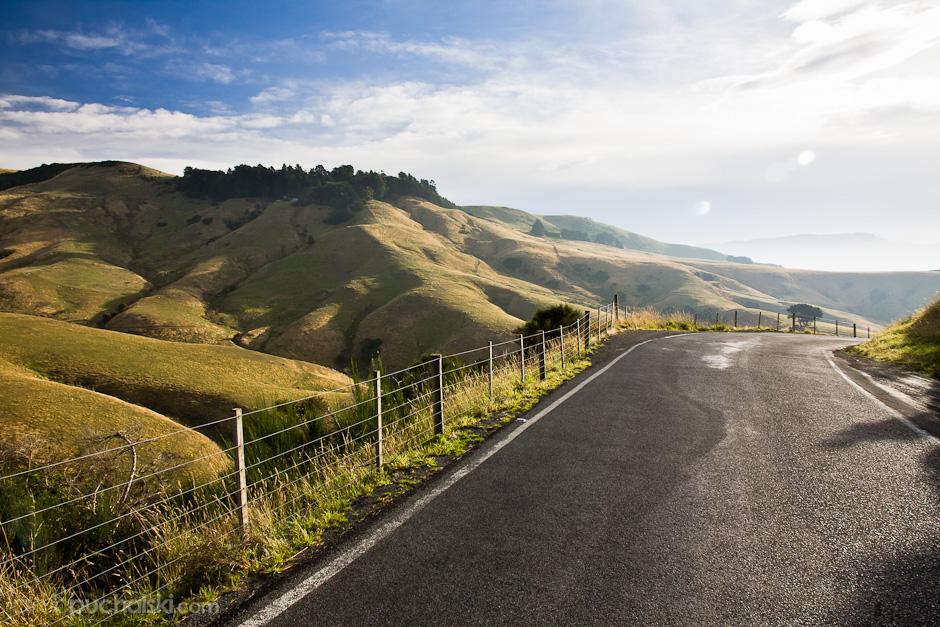 3. NOWA ZELANDIA, Wyspa Południowa, Półwysep Otago. Niewielki półwysep zachwyca malowniczymi widokami na wzgórza i zatoki, pomiędzy którymi wiją się wąskie drogi. (Fot. Jakub Puchalski)