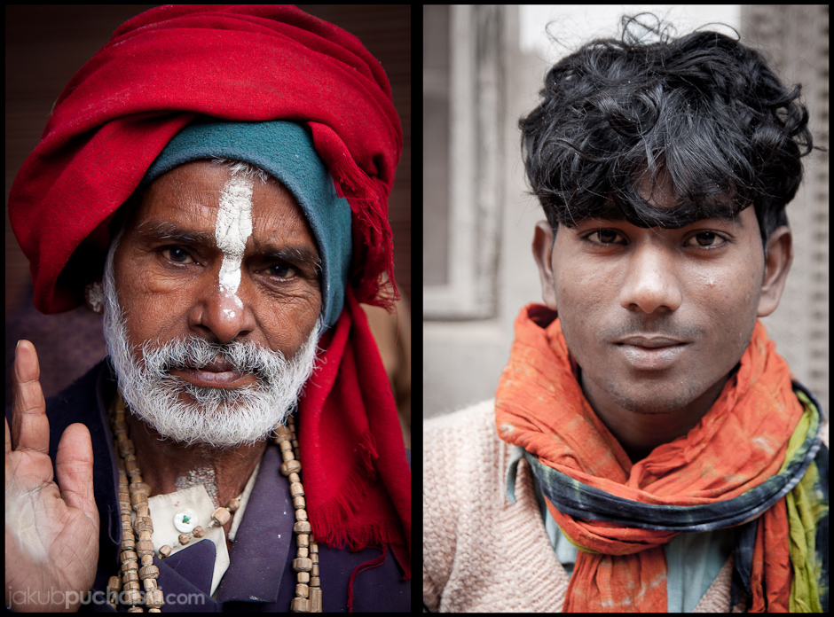 Asceta Sadhu, oraz indyjski sprzedawca owoców.