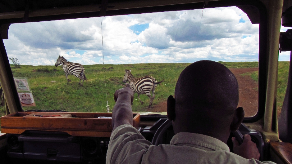 Kierowca i jednocześnie przewodnik prowadzący safari