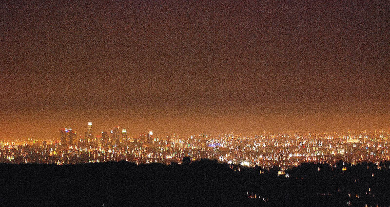 Widok na nocne Los Angeles