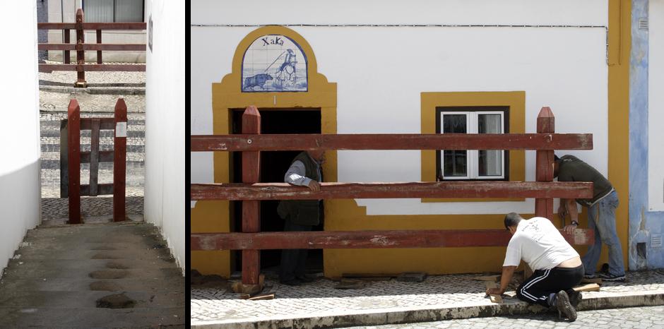 Przygotowania do gonitwy byków ulicami Azambuji