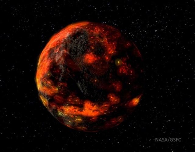 Ilustración del posible aspecto de la Luna tras su formación, cubierta por magma fruto de las colisiones de los objetos menores que dieron lugar a nuestro satélite. Crédito: NASA / GSFC