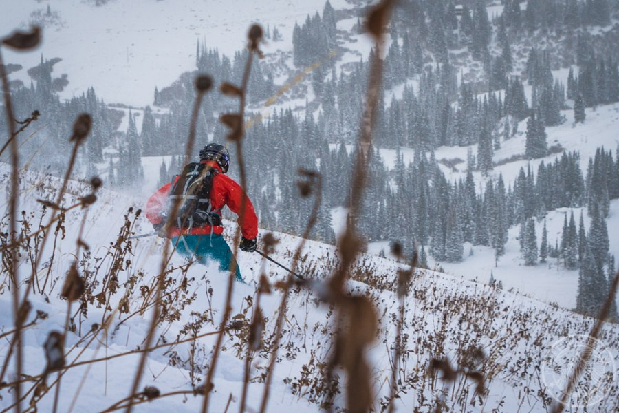 Noah Howell skis the first snow at Alta UT