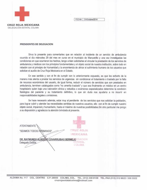cruz roja comunicado