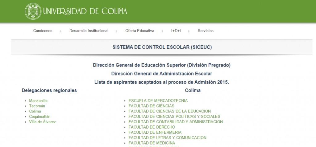 Publican lista de aceptados en licenciaturas de la Universidad de Colima