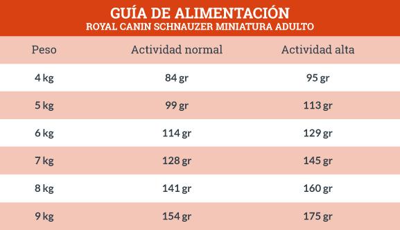 Guía de Alimentación Royal Canin Schnauzer Miniatura Adulto