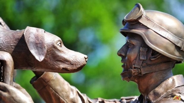"alt=""estatua perros detectores explosivos"""