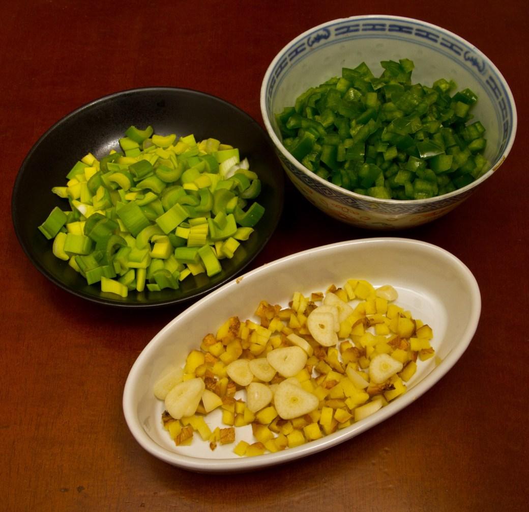 Vegetales para preparar Mapo Tofu