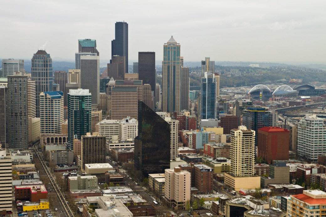 El centro de Seattle, visto desde el Space Needle
