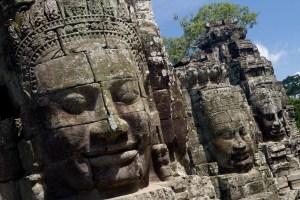 Caras de piedra en Bayon, Siem Riep, Camboya
