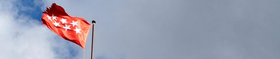 Una bandera de la Comunidad de Madrid ondea en una torre del Castillo de Manzanares el Real