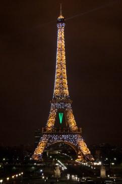 Espectáculo de luces nocturno de la Torre Eiffel, París, Francia