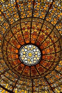 Detalle de la claraboya del Palau de la Música Catalana, Barcelona, España