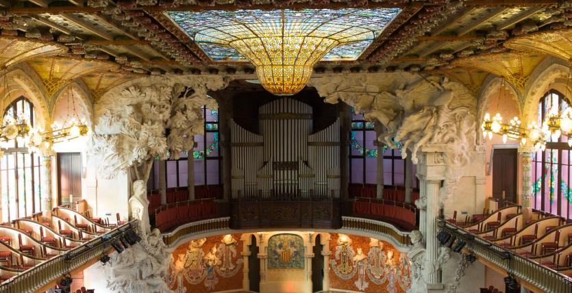 Sala de conciertos del Palau de la Música Catalana, Barceloana, España
