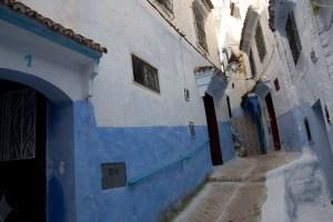 Casas azules en la medina de Chefchaouen, Marruecos