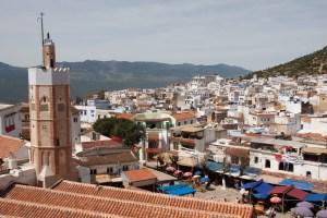 Vista de la ciudad desde la kasbah de Chefchaouen, Marruecos