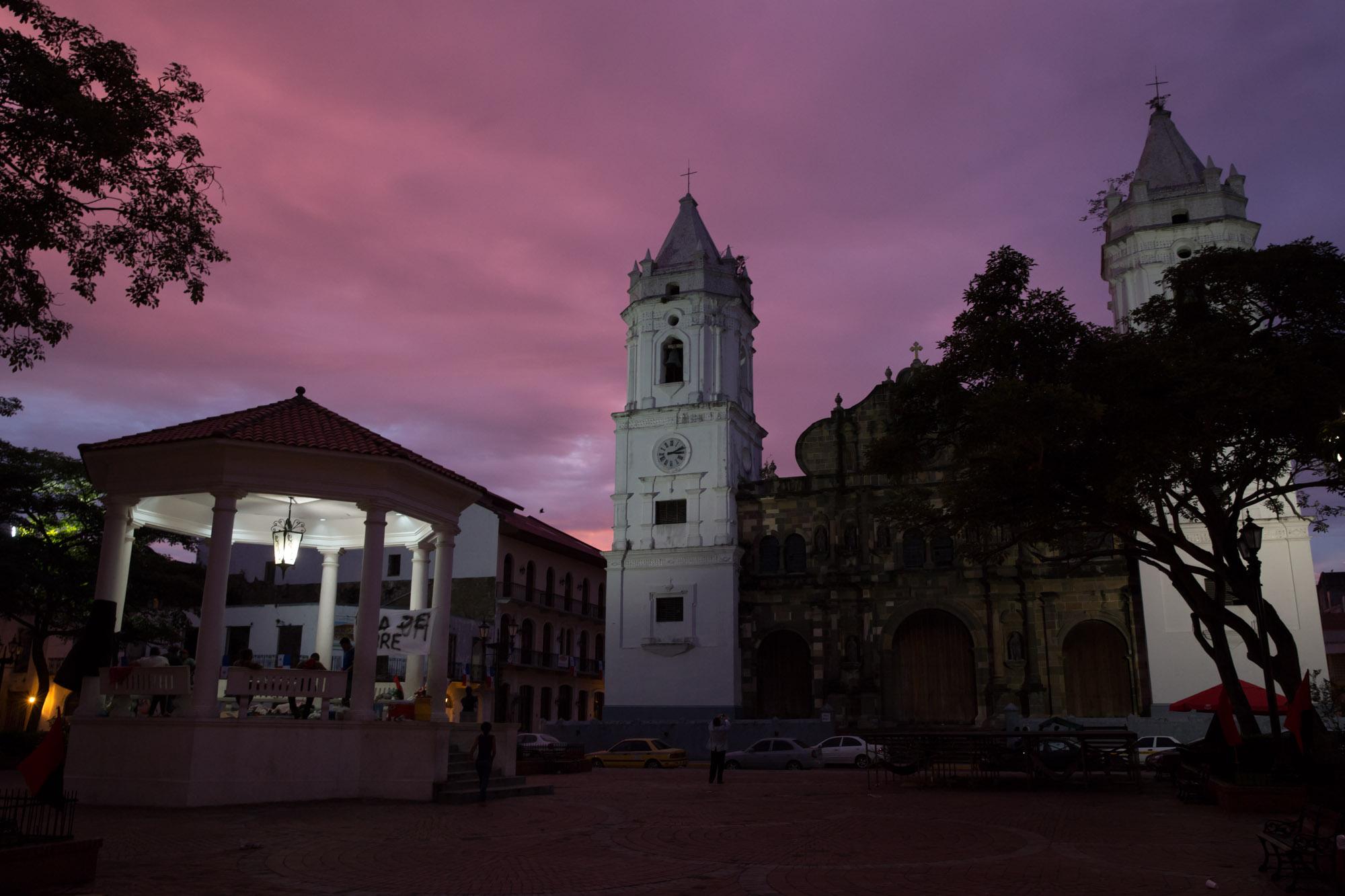 Plaza de la catedral en el Casco Antiguo de Panamá