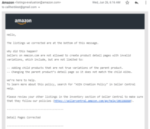 amazon policy warning - detail pages corrected