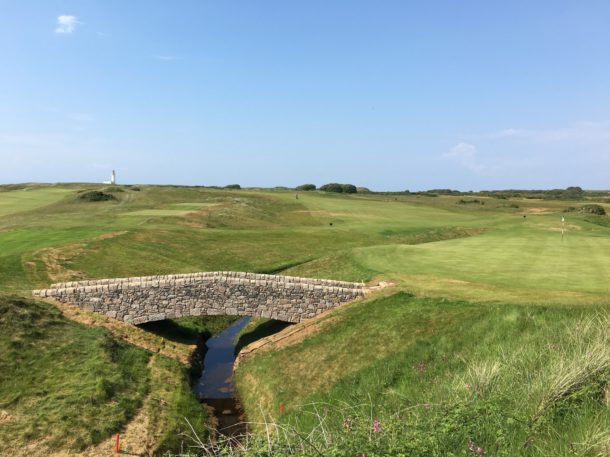 The Ailsa Course at Trump Turnberry - Great stonework for new bridge at the 16th hole - PerryGolf.com