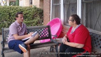 Talking to Pat Hall of the rooming house on Beckley Avenue