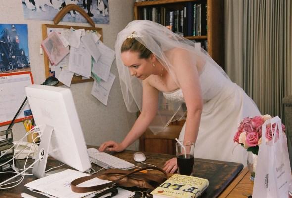 wedding planner bride at computer