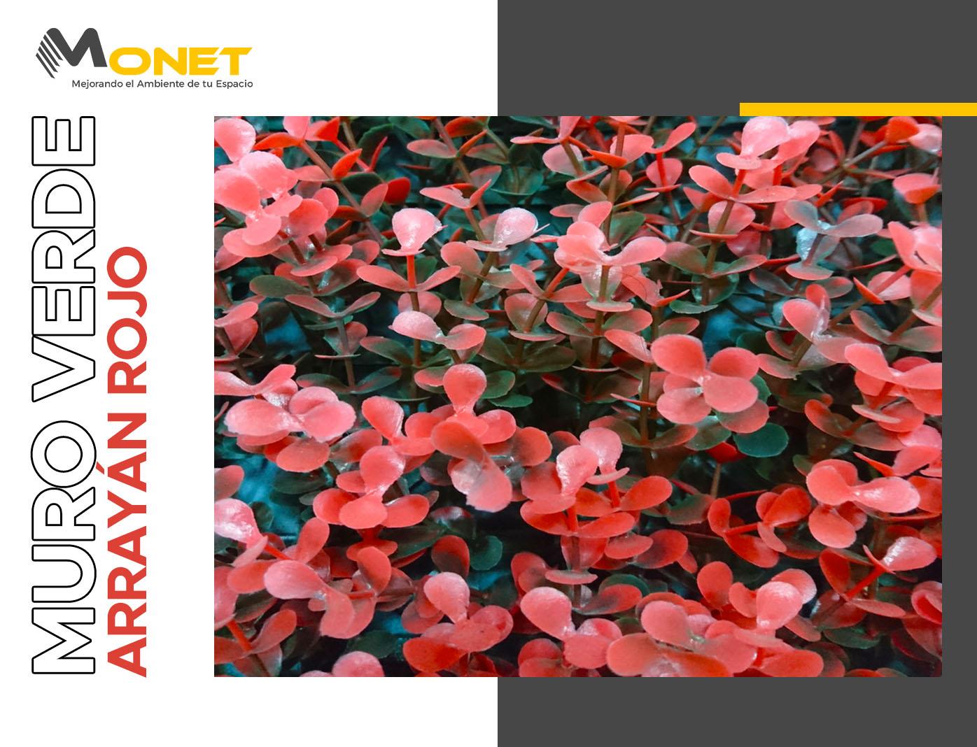 Muro Verde Artificial Modelo Arrayán Rojo