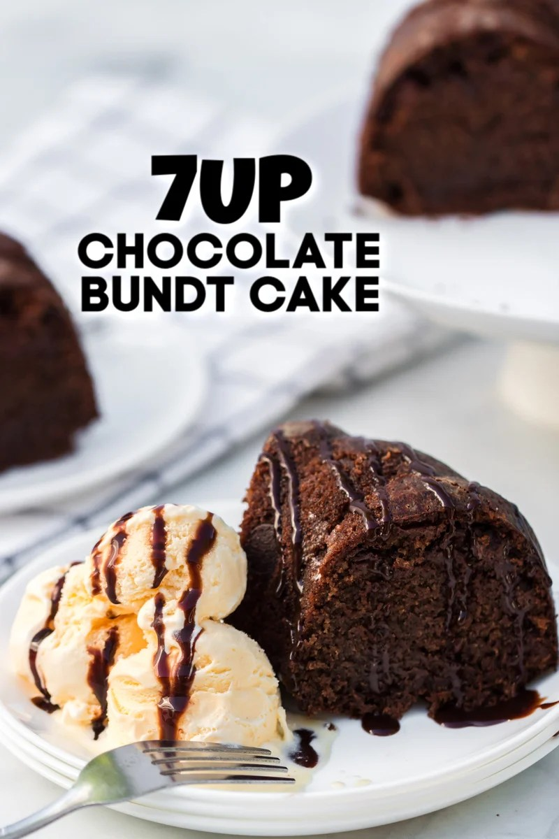 7up chocolate bundt cake with vanilla ice cream on white plate