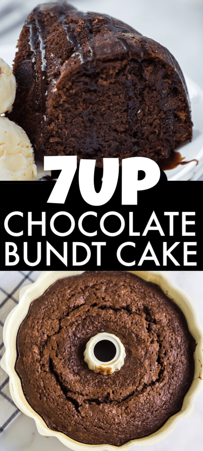7Up Chocolate Bundt Cake is a fun twist on a classic pound cake. This from scratch, moist bundt cake will be a hit at any gathering! | www.persnicketyplates.com #cake #chocolatecake #chocolate #bakefromscratch #easyrecipe #dessert