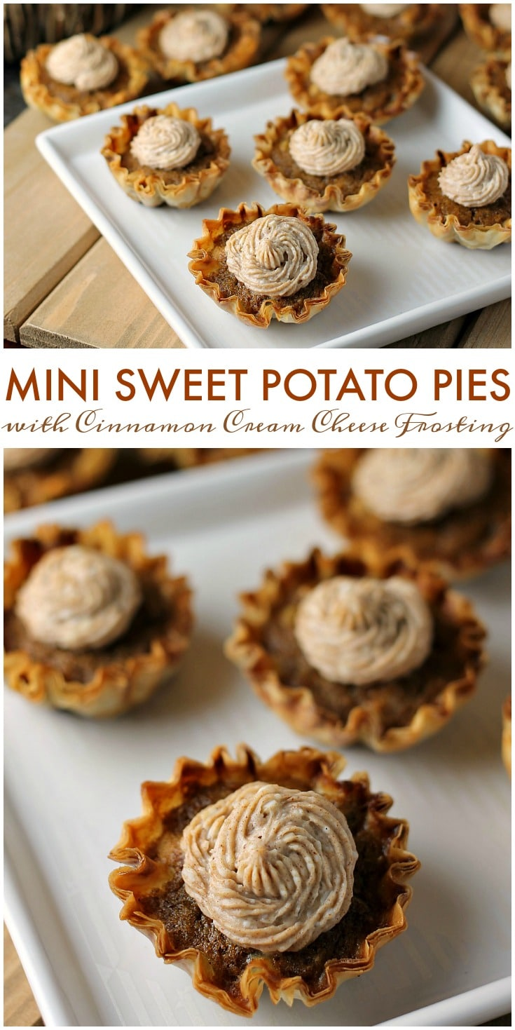 Mini Sweet Potato Pies with Cinnamon Cream Cheese Frosting are super easy to make but look fancy. Impress your guests with these bite sized treats! | www.persnicketyplates.com #pie #sweetpotatopie #thanksgiving #minidessert #dessert via @pplates
