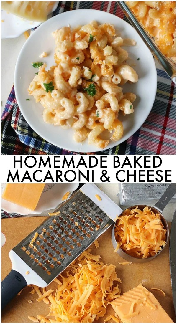 Homemade Baked Macaroni and Cheese is a delicious, super rich, five cheese baked macaroni and cheese. This copycat steakhouse macaroni and cheese is fancy enough to serve to guests for holidays, but so delicious, you'll want to make this mac and cheese recipe every day! | www.persnicketyplates.com #macaroniandcheese #macandcheese #cheese #comfortfood #pasta via @pplates