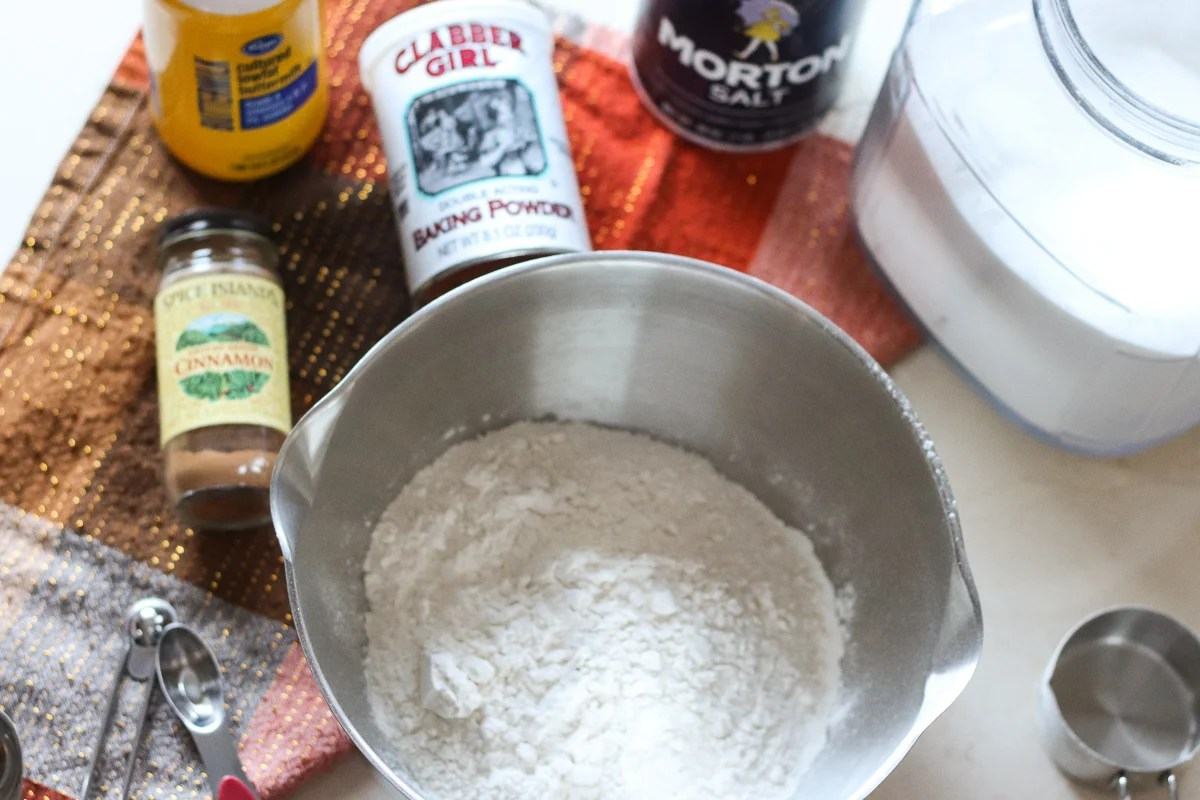 mixing bowl and ingredients set up to make quick bread