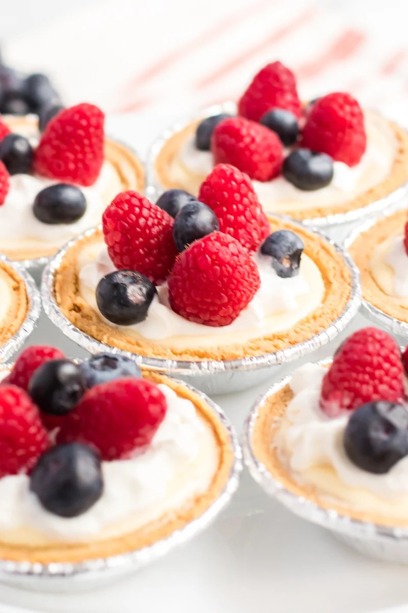 mini cheesecakes topped with berries