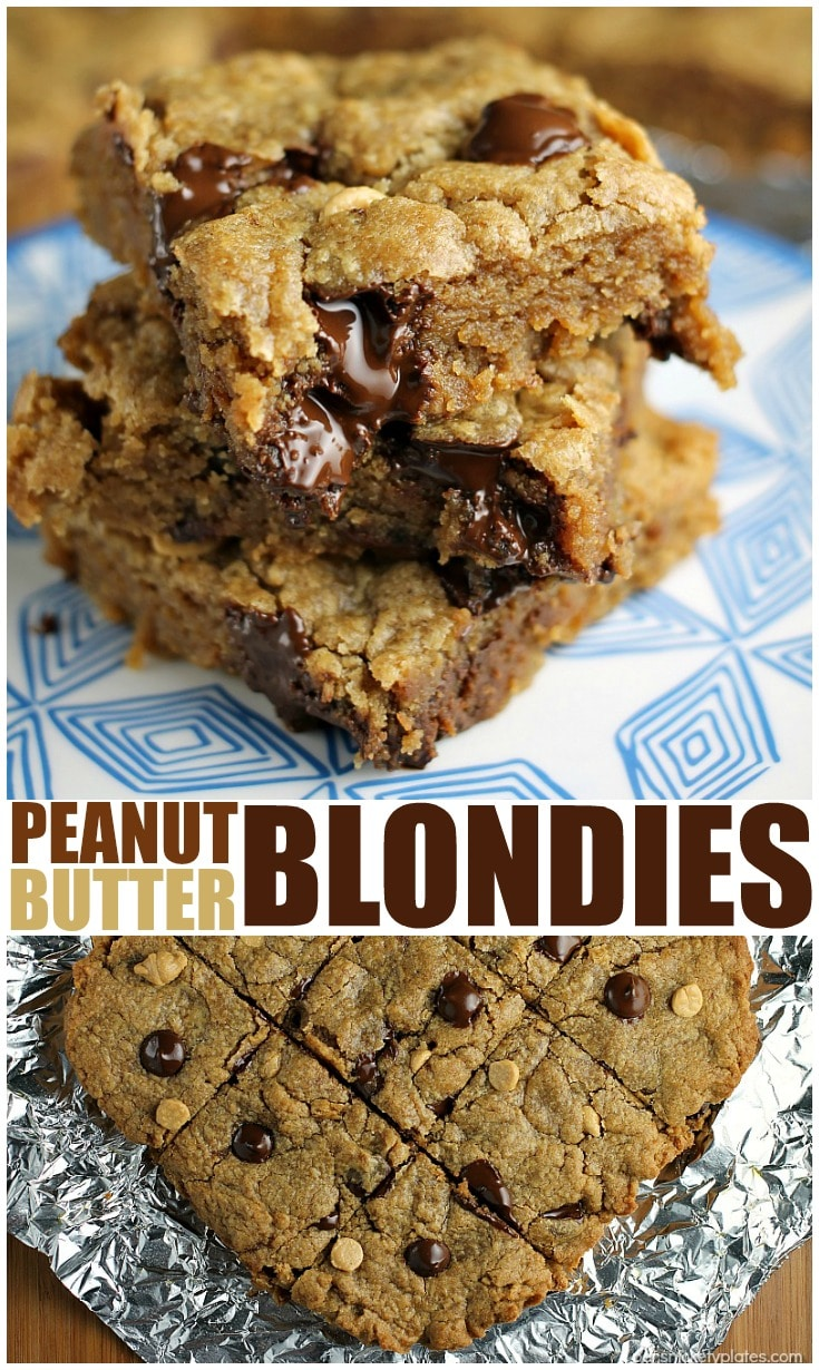 Peanut Butter Blondies filled with chocolate chips and peanut butter chips are soft and chewy and begging to be topped with vanilla ice cream! | Persnickety Plates via @pplates