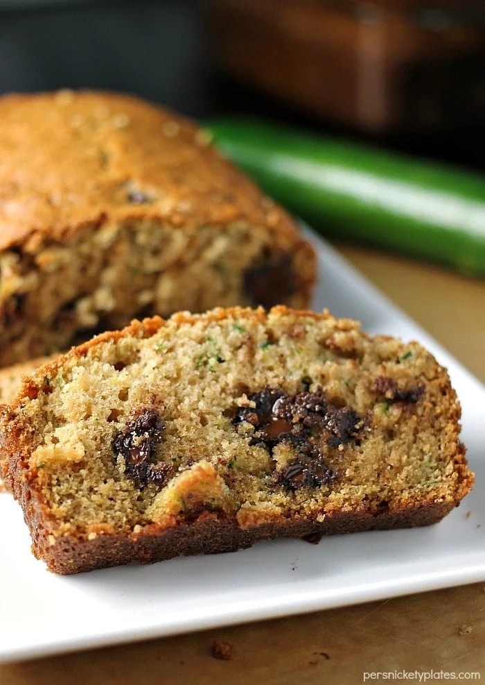 Luckily this recipe for Chocolate Chip Zucchini Bread makes two loaves because you're going to keep eating it!   Persnickety Plates