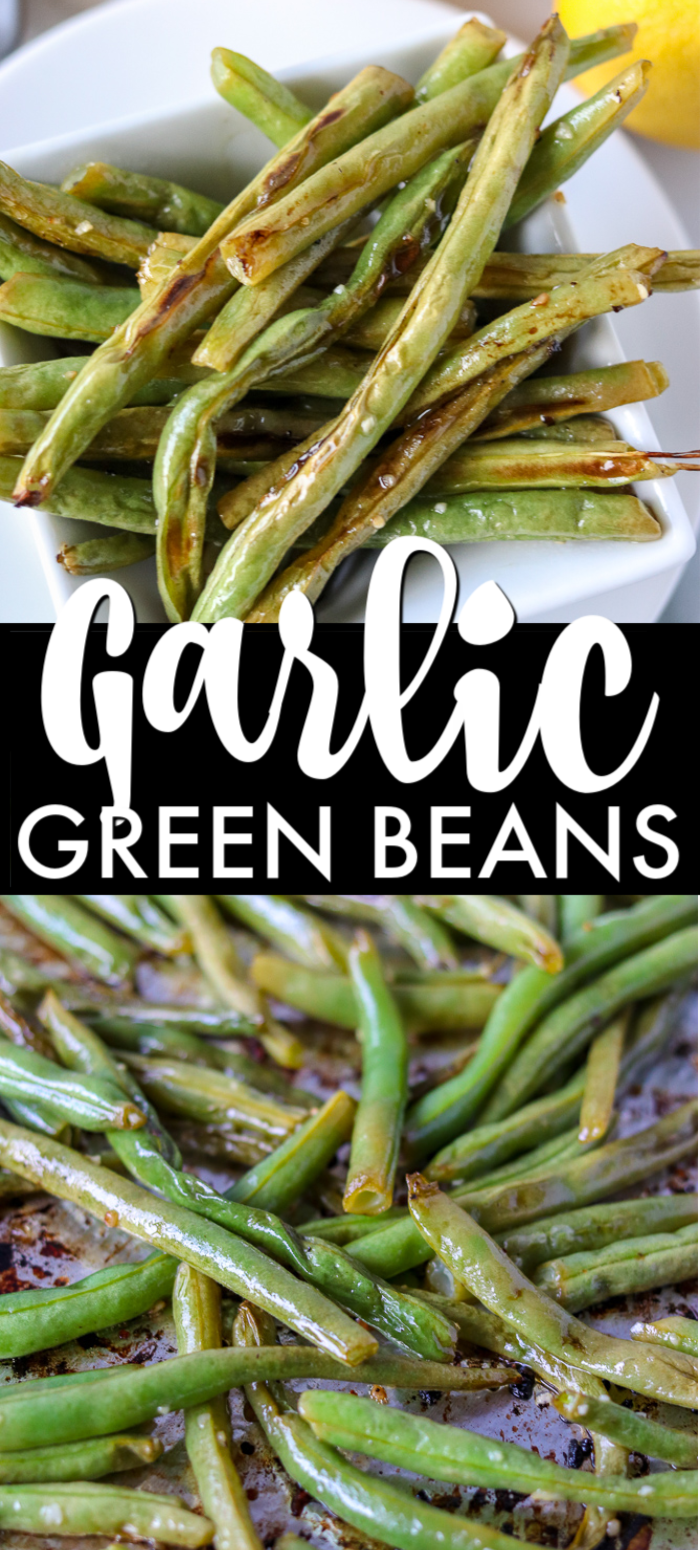 Oven roasted garlic green beans are a super simple and healthy side dish that I can never stop eating! Only five ingredients in this side dish that pairs well with just about anything. | www.persnicketyplates.com #sidedish #vegetarian #greenbeans #vegetables