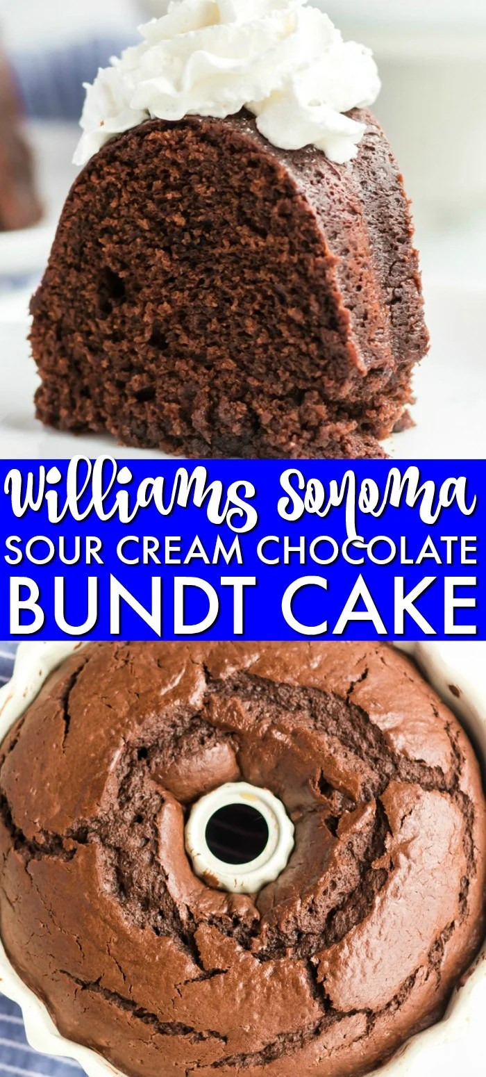 This rich, dense Sour Cream Chocolate Bundt Cake is a copycat of the famous Williams Sonoma recipe. Perfect for those chocolate cravings! | www.persnicketyplates.com