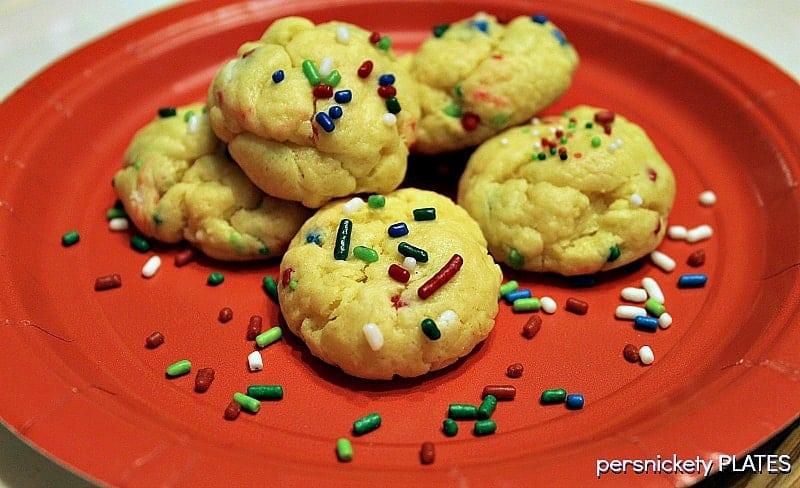 Five ingredient, semi-homemade, Cream Cheese Sprinkle Cookies are really simple & good. | Persnickety Plates
