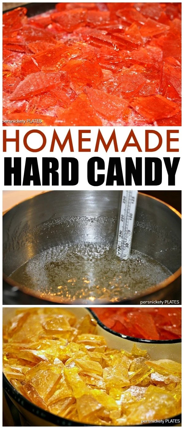 collage of homemade hard candy making