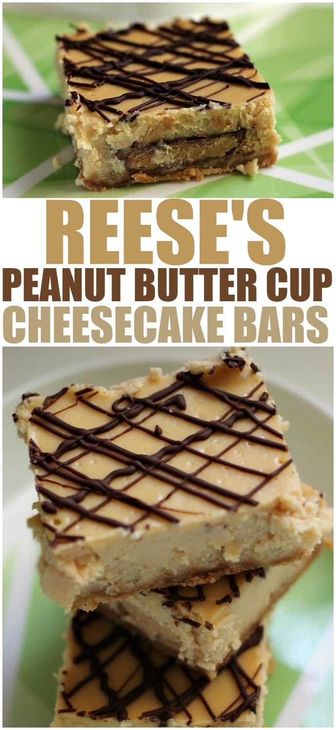 Reese's Peanut Butter Cup Cheesecake Bars - stuffing peanut butter cups into cheesecake bars then drizzling them with chocolate is always a good idea! | www.persnicketyplates.com via @pplates