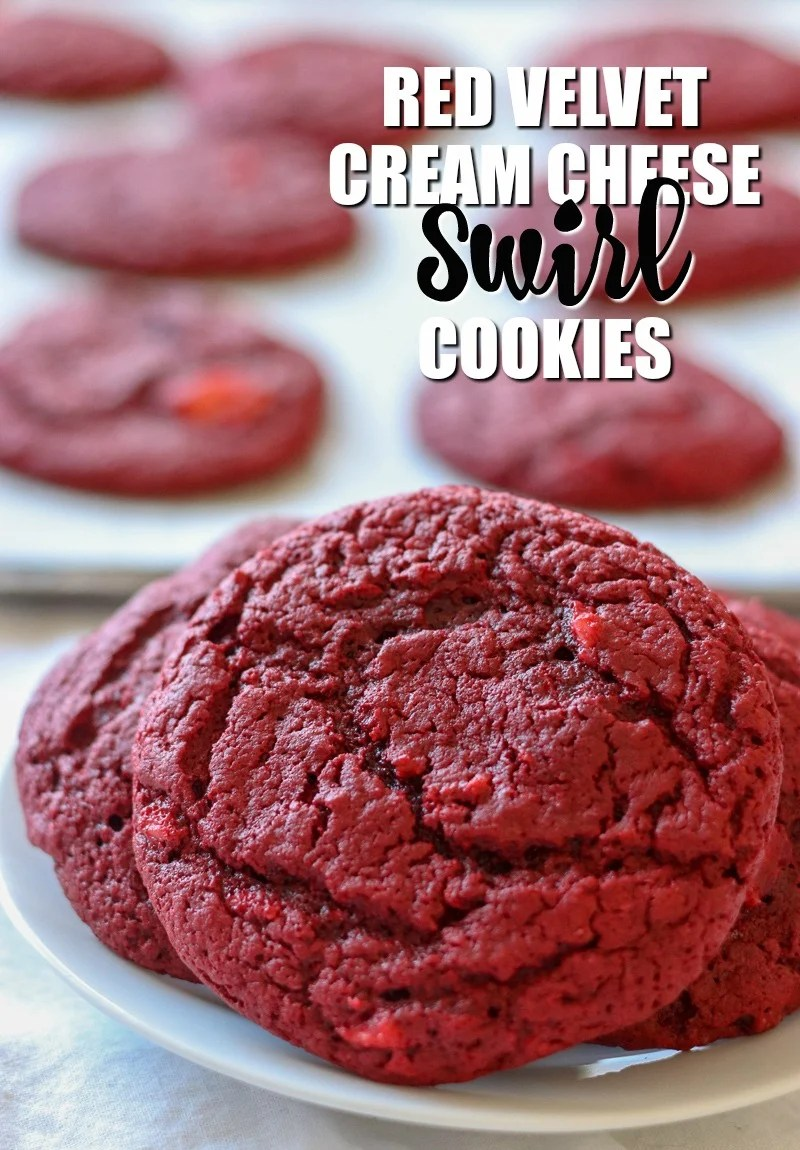 These Red Velvet Cream Cheese Swirl Cookies are only six ingredients with the help of a cake mix. A moist red velvet cookie with swirls of cream cheese throughout make the perfect and festive treat for Valentine's Day! | www.persnicketyplates.com