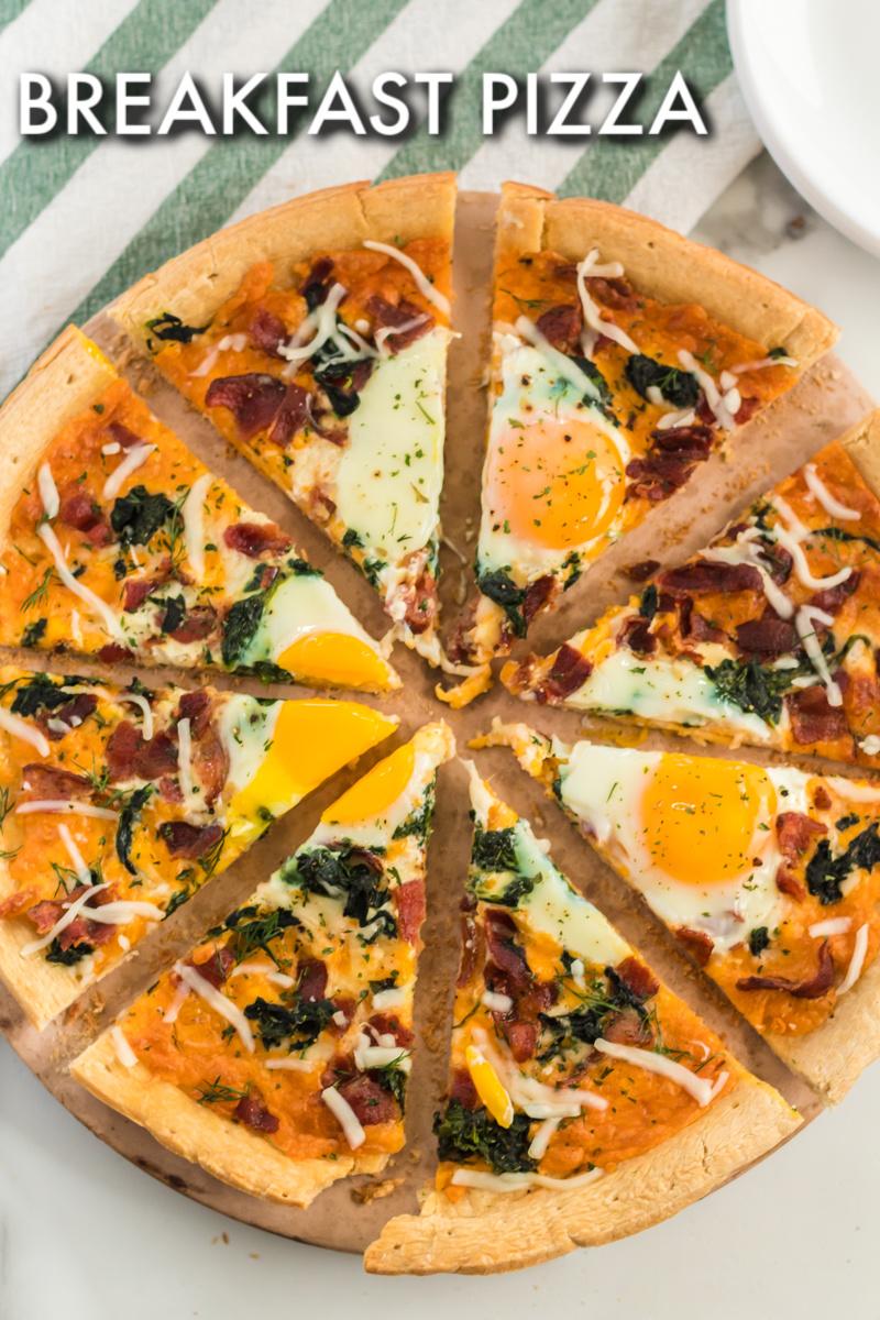 full breakfast pizza sliced