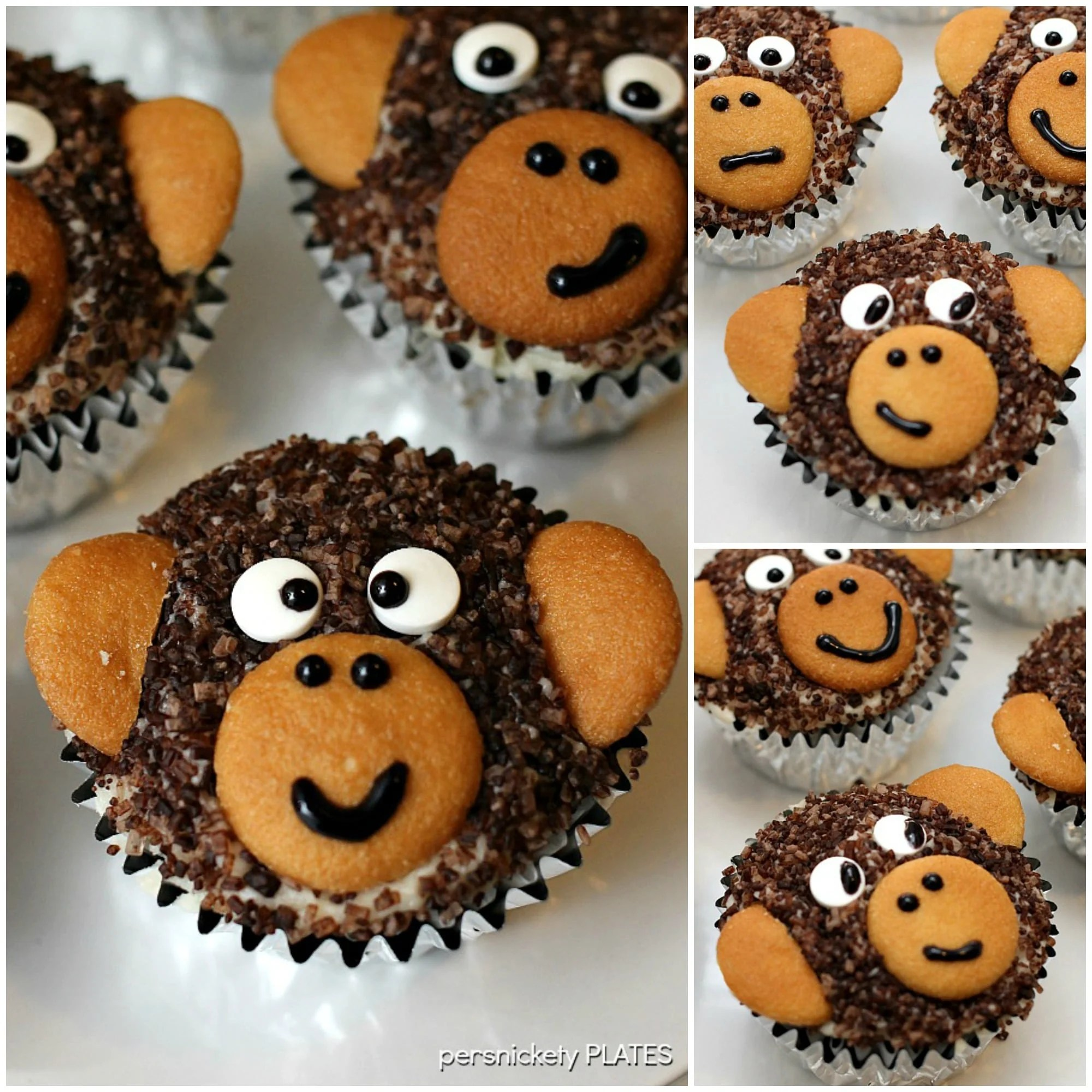 Adorable Monkey Cupcakes Homemade Chocolate With Sugar Fur And Vanilla Wafer
