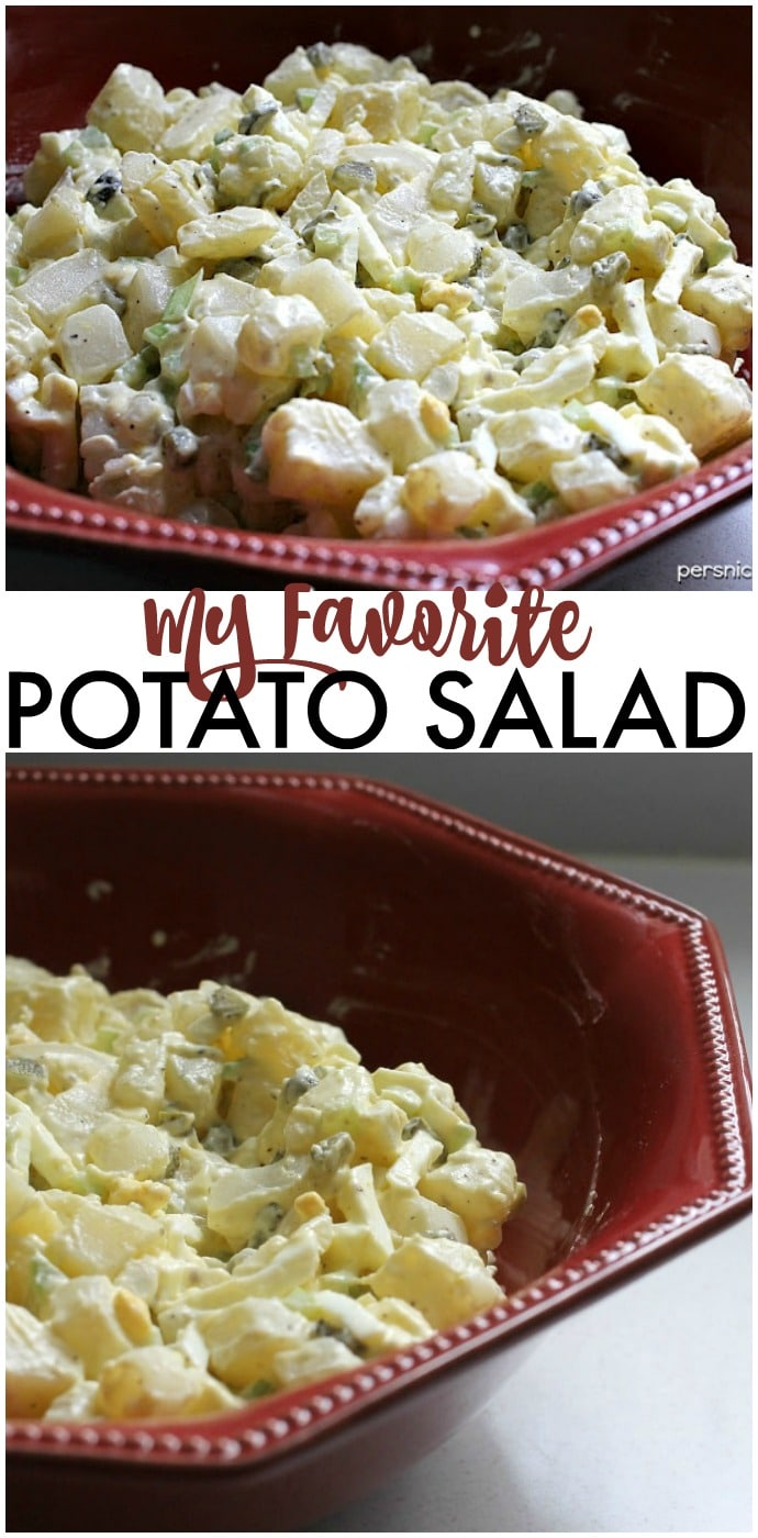 My favorite potato salad filled with eggs, sweet pickles, and slaw dressing that gives it a unique twist. I've been making for years & it's always a hit! | www.persnicketyplates.com via @pplates
