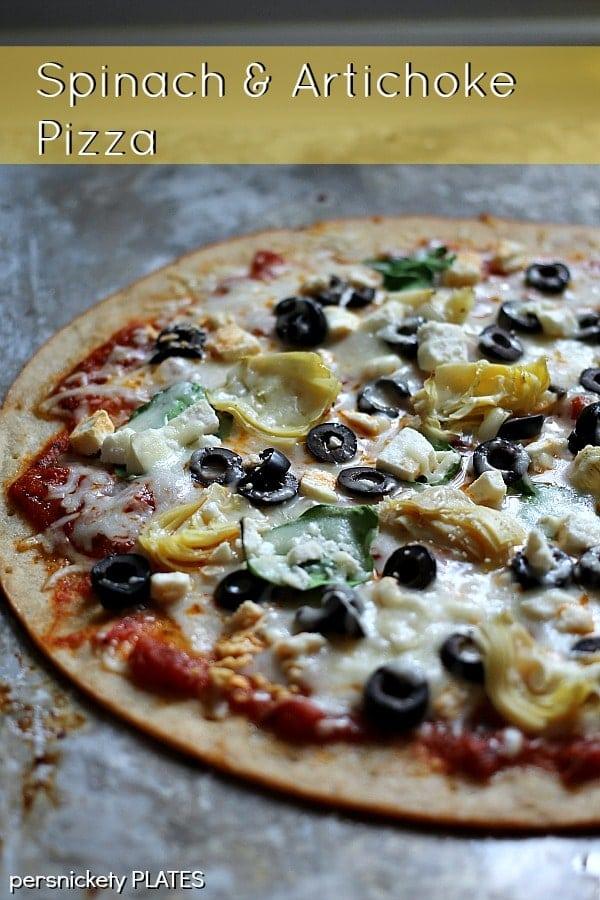 Gluten Free Spinach & Artichoke Pizza | Persnickety Plates