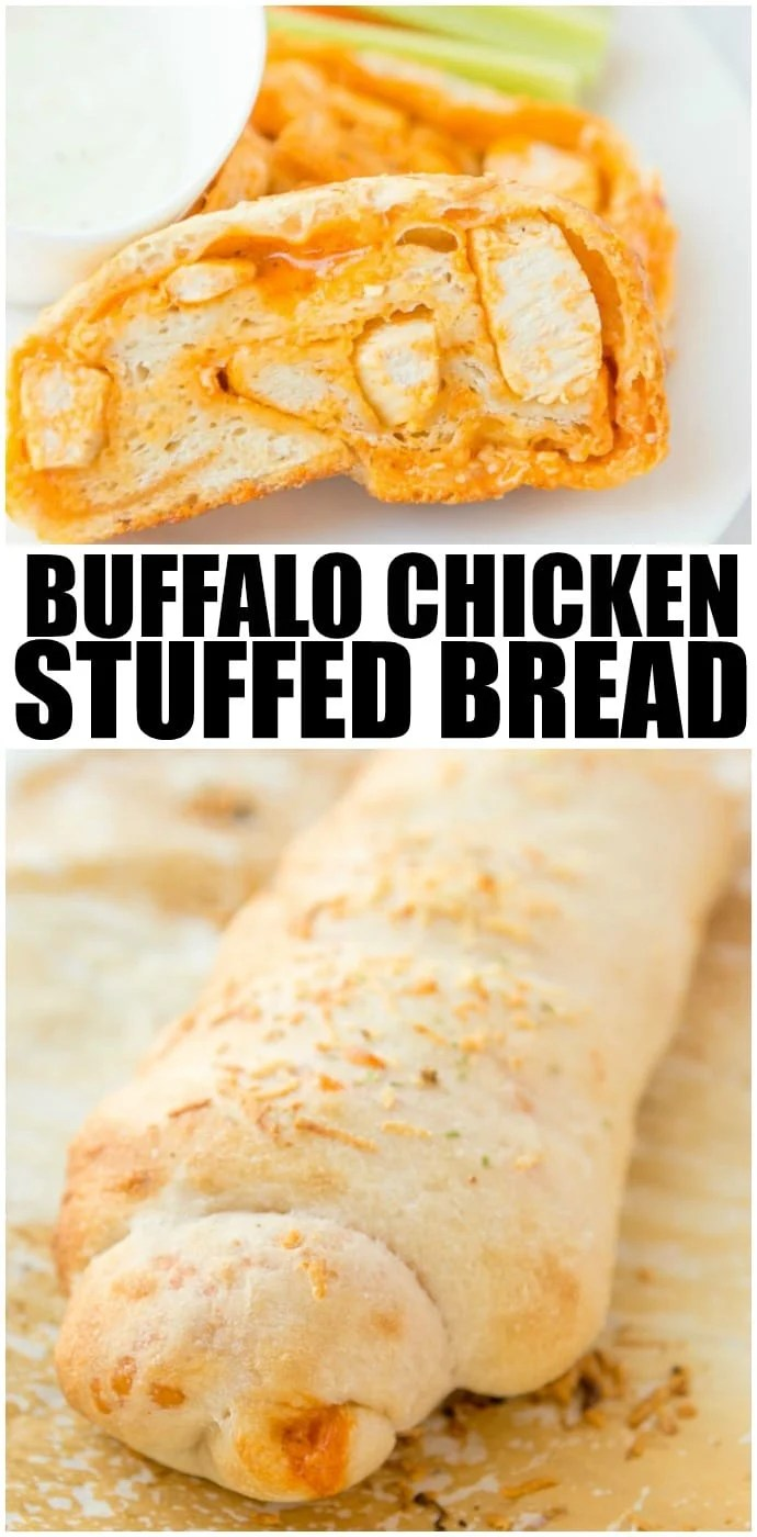 Buffalo Chicken Bread is easy to make at home & better than take-out! Stuffed bread recipes make the perfect weeknight dinner, and they're great for serving at parties or as game day snack food. This easy stuffed bread recipe makes pizza dough stuffed with spicy Buffalo chicken and cheese. SO delicious! | www.persnicketyplates.com via @pplates
