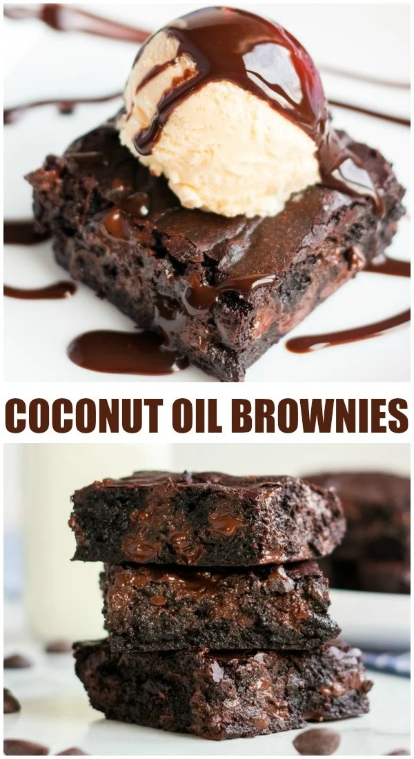 "Coconut Oil Dark Chocolate Brownies are made with coconut oil instead of butter. Only 6 simple ingredients in these ""from scratch"" brownies - give them a shot! 