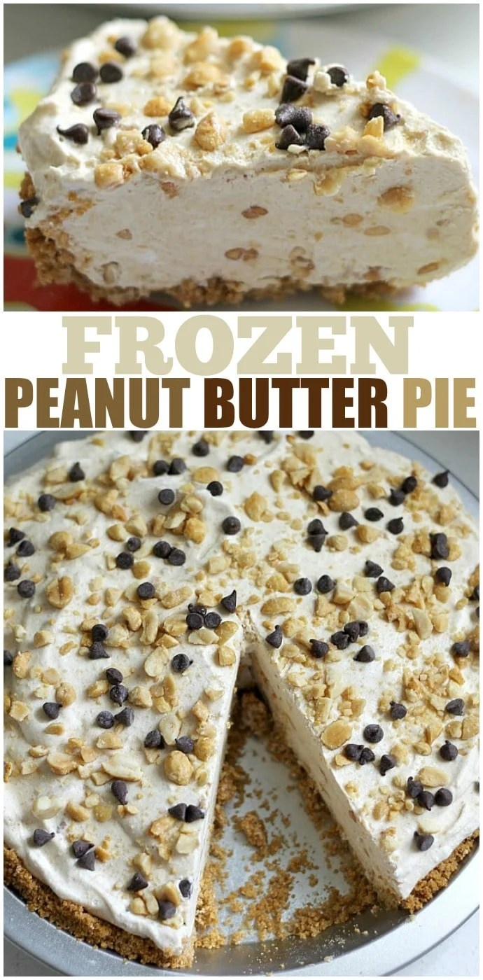 Frozen Peanut Butter Pie is cold and creamy and nearly no-bake so it's the perfect treat for a hot summer day! Or on a cold day, if we're being honest. It's delicious any day! | www.persnicketyplates.com #nobake #pie #dessert #easyrecipe