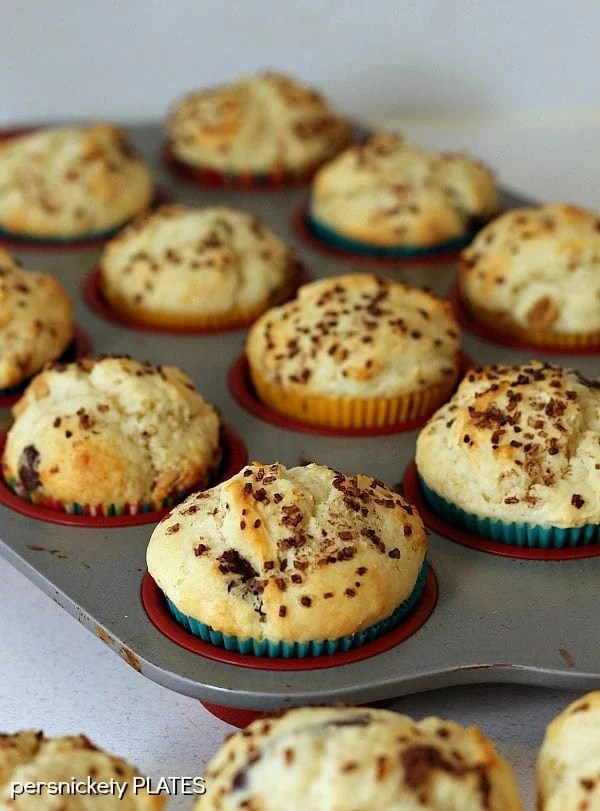 Cream Cheese Chocolate & Peanut Butter Chip Muffins - a deliciously soft muffin that verges on a cupcake!   Persnickety Plates