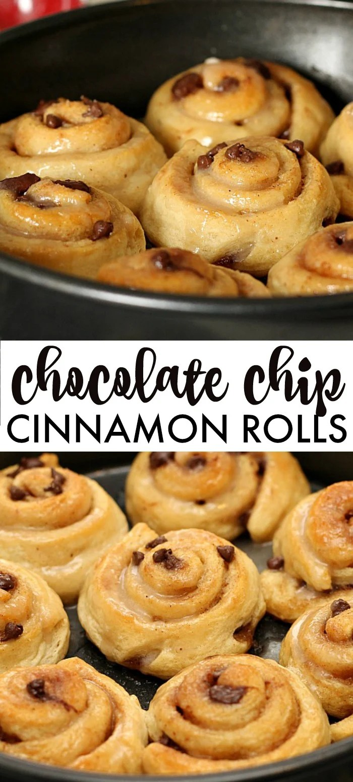 Chocolate Chip Cinnamon Rolls will be your new best brunch idea! These simple cinnamon rolls take less than 10 minutes to prep and seconds to eat! | ww.persnicketyplates.com